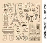 paris hand drawn illustrations. ... | Shutterstock .eps vector #478485490
