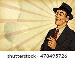 retro man have fun and point... | Shutterstock .eps vector #478495726