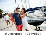 happy young couple walking by... | Shutterstock . vector #478495834