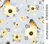 seamless pattern with birds... | Shutterstock .eps vector #478505404