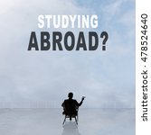 Small photo of Studying Abroad? Text on the sky.