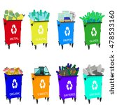 colored garbage cans with waste ... | Shutterstock .eps vector #478533160