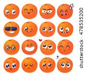 orange set of funny smiles.... | Shutterstock .eps vector #478535200