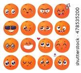orange set of funny smiles....   Shutterstock .eps vector #478535200