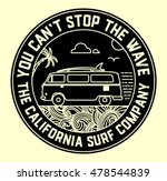 Surf Label With Van And Surf...
