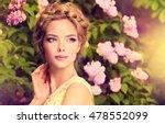 fashionable hair disheveled... | Shutterstock . vector #478552099