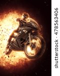 woman riding a motor bike on... | Shutterstock . vector #478563406