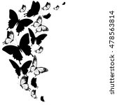 black butterflies isolated on a ... | Shutterstock . vector #478563814