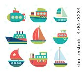 different kind of boats. set of ... | Shutterstock .eps vector #478573234