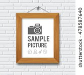 wood frame on gray block wall... | Shutterstock .eps vector #478587640