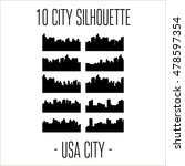 city skylines silhouette set