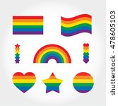 rainbow flag set. lgbt gay and... | Shutterstock .eps vector #478605103