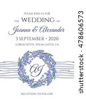 wedding invitation with wreath... | Shutterstock .eps vector #478606573