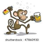 drunk monkey | Shutterstock .eps vector #47860930