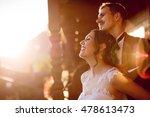 happy bride and groom enjoying... | Shutterstock . vector #478613473