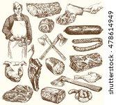 meat  butcher. hand drawn... | Shutterstock .eps vector #478614949