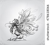 the girl with wings of a... | Shutterstock .eps vector #478618066