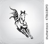 Stock vector vector silhouette of a running horse 478618093