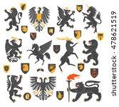 set of heraldic animals and... | Shutterstock .eps vector #478621519