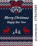 vector illustration  knitted... | Shutterstock .eps vector #478629889