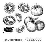 tomato vector drawing set.... | Shutterstock .eps vector #478637770