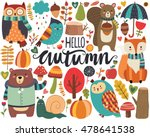 cute autumn woodland animals... | Shutterstock .eps vector #478641538