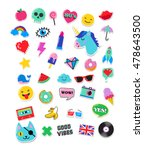 pop art fashion chic patches ... | Shutterstock .eps vector #478643500