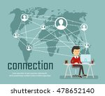 Stock vector the man working in the office flat social media and network concept business background global 478652140