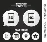 crumpled paper speech bubble.... | Shutterstock .eps vector #478663423