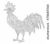rooster zentangle on white... | Shutterstock .eps vector #478685560