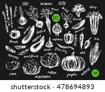ink sketch of vegetables with... | Shutterstock .eps vector #478694893