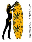 surf board and young pretty...   Shutterstock .eps vector #478697869