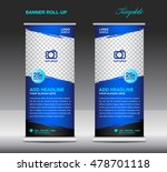 blue roll up banner template... | Shutterstock .eps vector #478701118
