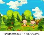 cartoon happy and funny farm... | Shutterstock . vector #478709398