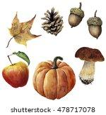 Watercolor Autumn Harvest Set....