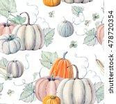 watercolor pumpkins seamless... | Shutterstock . vector #478720354