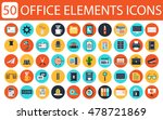 50 office icons. modern flat...