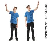 cute teenager boy in blue t... | Shutterstock . vector #478730680