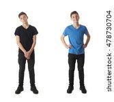 cute teenager boy in black t... | Shutterstock . vector #478730704