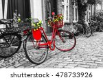 Retro Vintage Red Bicycle On...