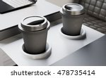 two black plastic coffee cups... | Shutterstock . vector #478735414