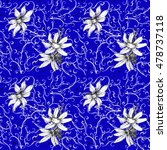deep blue pattern with chamomile | Shutterstock . vector #478737118