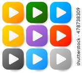 modern flat play buttons with...
