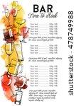 alcohol drinks menu design.... | Shutterstock .eps vector #478749988