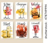 alcohol drinks flyer design set.... | Shutterstock .eps vector #478749994