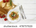 whole wheat spaghetti pasta... | Shutterstock . vector #478757020