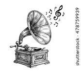 Hand Drawn Vintage Gramophone...