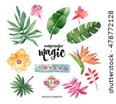 watercolor set. colorful... | Shutterstock . vector #478772128