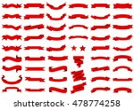Ribbon red vector icon on white background. Banner isolated shapes illustration of gift and accessory. Christmas sticker and decoration for app and web. Label, badge and borders collection. | Shutterstock vector #478774258
