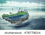 flying island. eco concept with ... | Shutterstock . vector #478778014